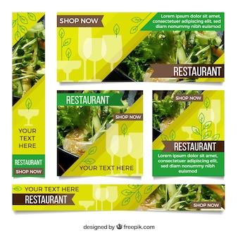 Coleção de bandeira de restaurante de comida saudável com fotos