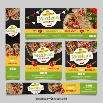 Coleção de bandeira de restaurante mexicano com fotos