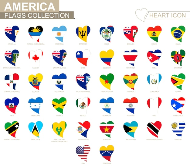 Coleção de bandeira de vetor de países americanos. conjunto de ícones de coração.