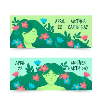 Coleção de bandeira do dia da mãe terra desenhados à mão
