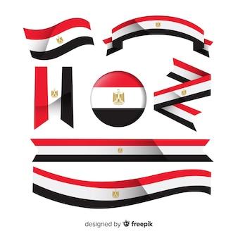 Coleção de bandeira egípcia com design plano