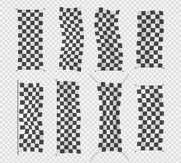 Coleção de bandeira esportiva de largada, finalização e xadrez. Vetor Premium