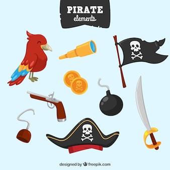 Coleção de bandeira pirata e outros elementos