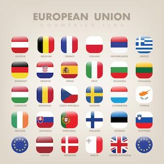 Coleção de bandeira quadrada da união europeia