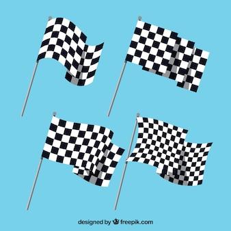 Coleção de bandeira quadriculada com design liso