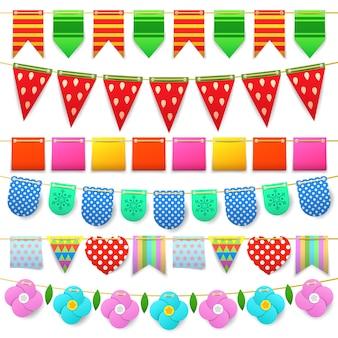 Coleção de bandeiras coloridas de celebração de festa para decoração.