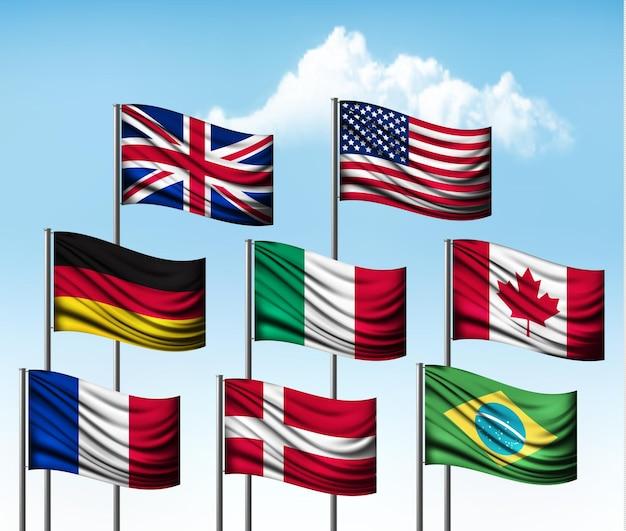 Coleção de bandeiras de alguns países.