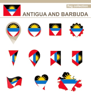 Coleção de bandeiras de antígua e barbuda, 12 versões Vetor Premium