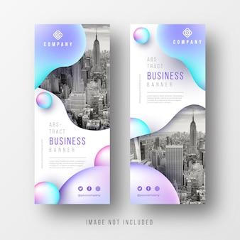 Coleção de bandeiras de negócios abstrata com formas líquidas
