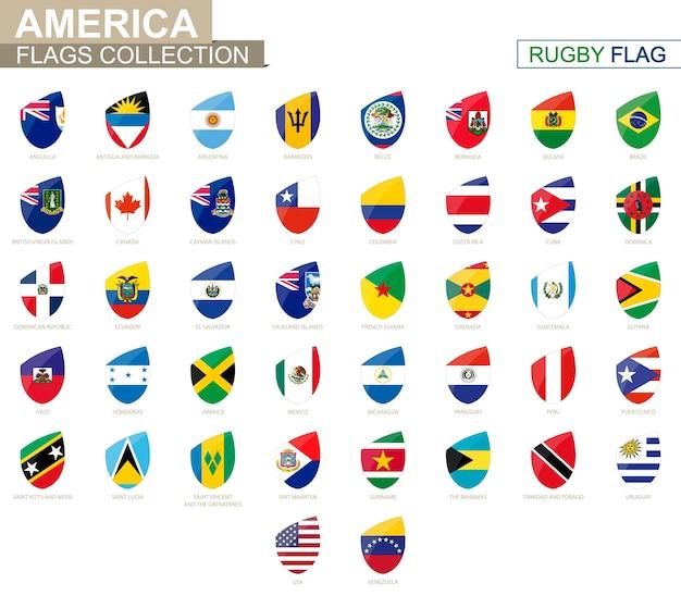 Coleção de bandeiras de países americanos. conjunto de bandeira de rugby. ilustração vetorial.