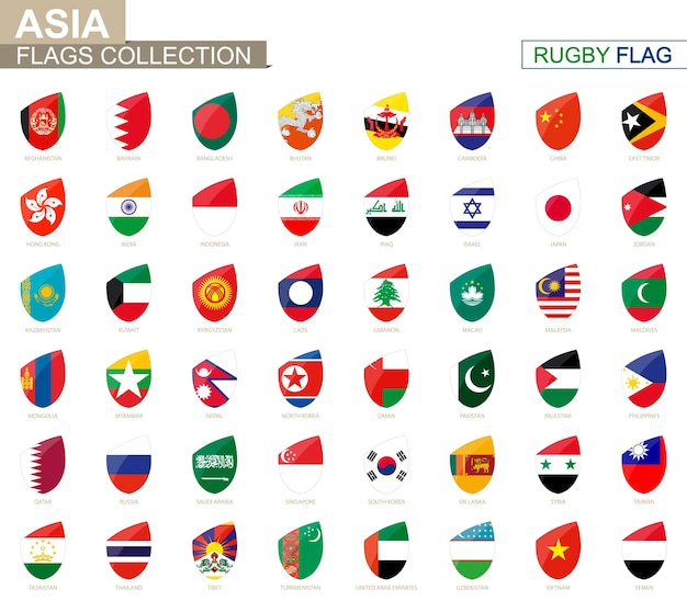 Coleção de bandeiras de países asiáticos. conjunto de bandeira de rugby. ilustração vetorial.