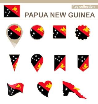 Coleção de bandeiras de papua nova guiné, 12 versões