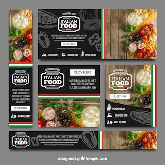 Coleção de bandeiras de restaurantes italianos