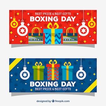 Coleção de bandeiras do dia do boxe em cores brilhantes