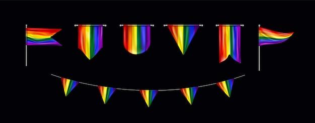 Coleção de bandeiras do dia do orgulho dos desenhos animados