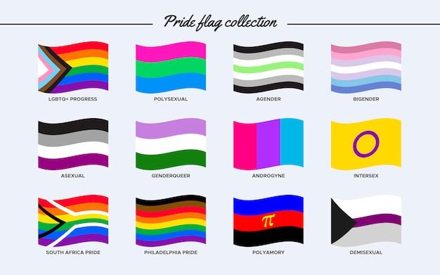 Coleção de bandeiras do orgulho em forma de onda