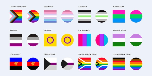 Coleção de bandeiras do orgulho em formas quadradas e arredondadas