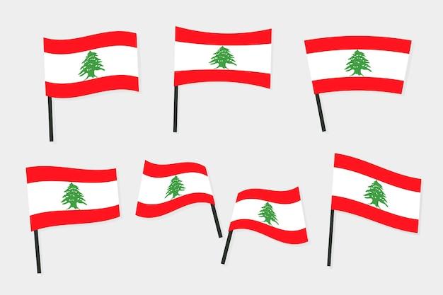 Coleção de bandeiras libanesas com design plano