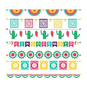 Coleção de bandeiras mexicanas coloridas