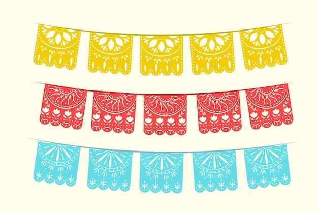 Coleção de bandeiras mexicanas