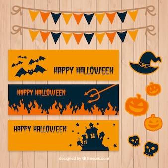 Coleção de bandeiras minimalistas com elementos de halloween