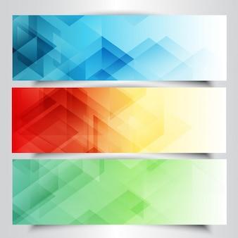 Coleção de bandeiras modernos com design abstrato do poli baixo
