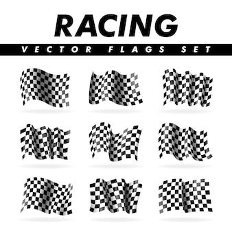 Coleção de bandeiras xadrez de corrida