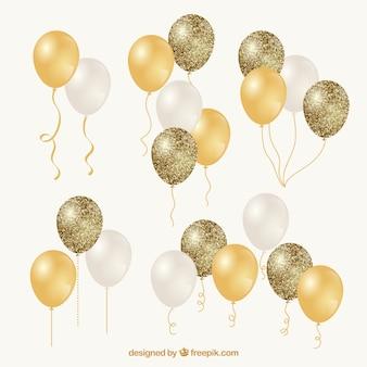 Coleção de bando de ouro e branco balões