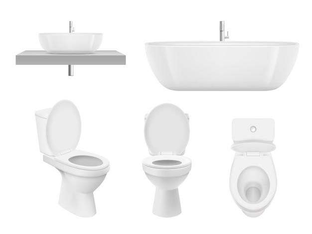 Coleção de banheiro realista. vaso sanitário, pia do banheiro tigela armário branco limpo para lavatório fresco. as fotos