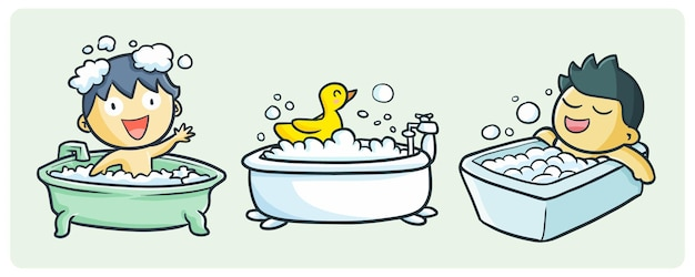 Coleção de banhos divertidos em estilo doodle fofo