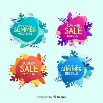 Coleção de banner colorido líquido de venda de verão