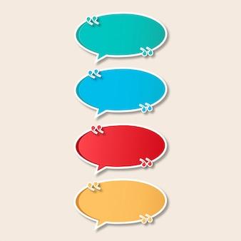 Coleção de banner colorido moderno discurso bolha