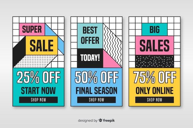 Coleção de banner colorido venda em estilo memphis