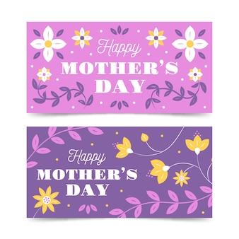 Coleção de banner com design de dia das mães