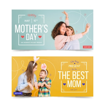 Coleção de banner com o conceito de dia das mães