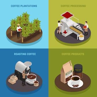 Coleção de banner da indústria cafeeira