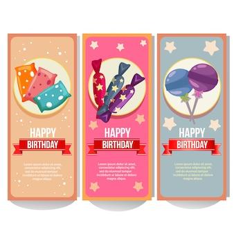 Coleção de banner de aniversário com coleção de doces