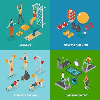 Coleção de banner de clube de fitness isométrica