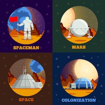 Coleção de banner de colonização do planeta