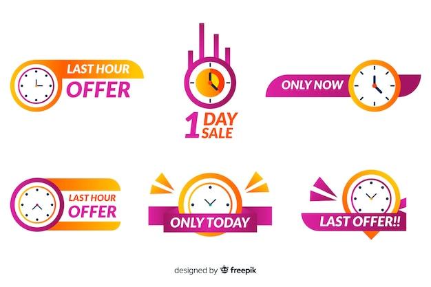 Coleção de banner de contagem regressiva de vendas