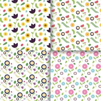 Coleção de banner de decoração de flores decoração de flores ilustração de flores rosa, roxas e amarelas