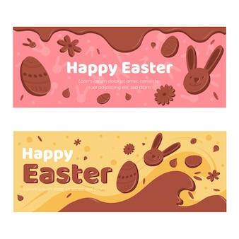 Coleção de banner de dia de páscoa festiva de chocolate