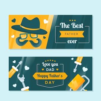 Coleção de banner de dia dos pais de design plano