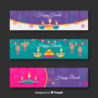 Coleção de banner de diwali web com design plano
