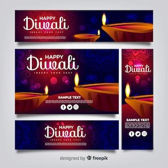 Coleção de banner de diwali web com design realista