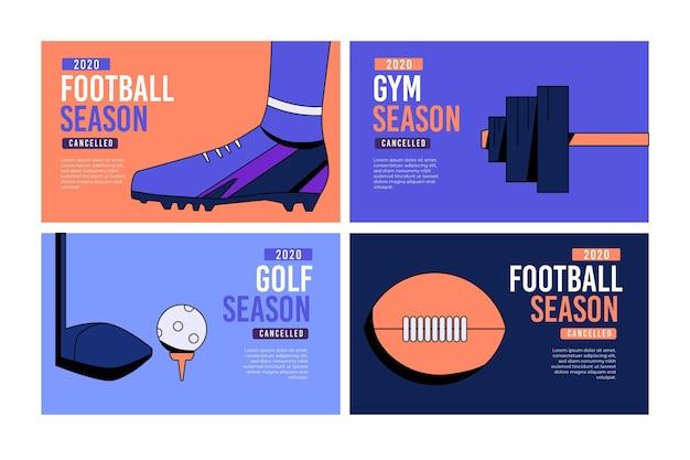 Coleção de banner de eventos esportivos cancelados