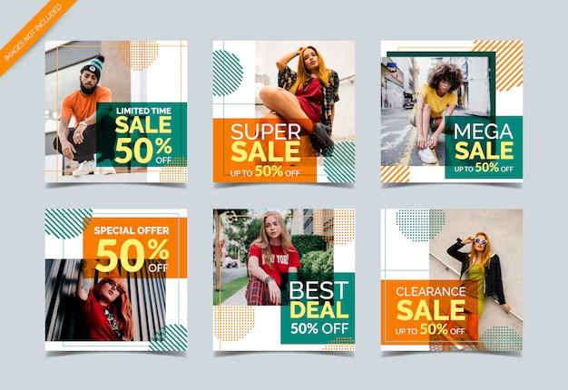 Coleção de banner de mídia social criativa para venda de moda