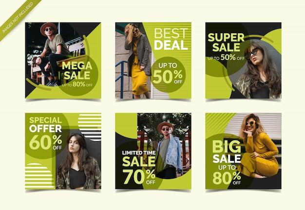 Coleção de banner de mídia social de venda de moda