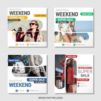Coleção de banner de mídia social de vendas de moda
