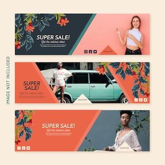 Coleção de banner de moda promoção